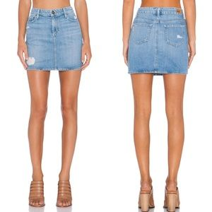 PAIGE Distressed Denim Mini Skirt